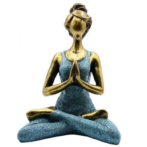 Yoga Lady Lotus Position Bronze & Turquoise